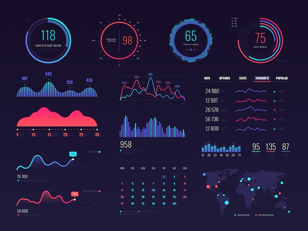Intelligente technologie hud interface. gegevensscherm voor netwerkbeheer met grafieken en diagrammen Premium Vector