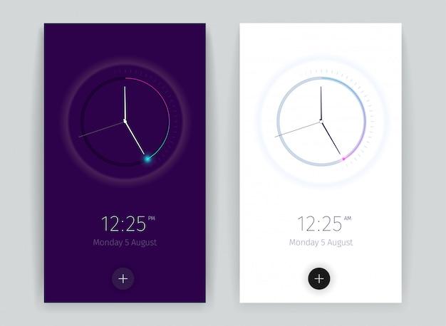 Interface aftellen applicatie banners instellen met tijd symbolen verticale realistisch geïsoleerd Gratis Vector