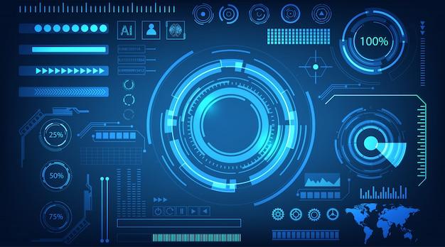 Interface hologram blauwe achtergrond Premium Vector