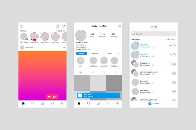 Interface instagram verhalen sjabloon Gratis Vector