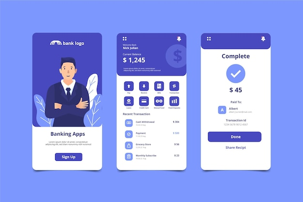 Interface-schermen voor bankapps Gratis Vector