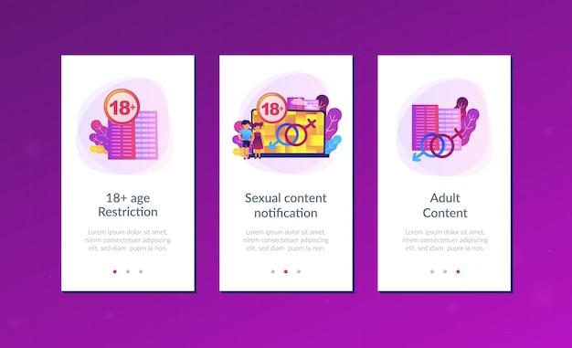 Interface-sjabloon voor inhoud voor volwassenen. Premium Vector