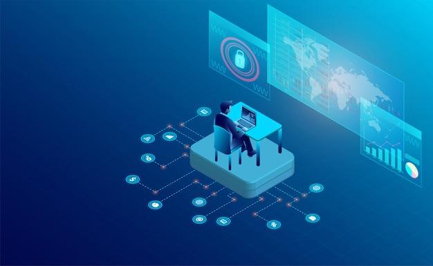 Interface voor het volgen van de website-interactiebanner Premium Vector