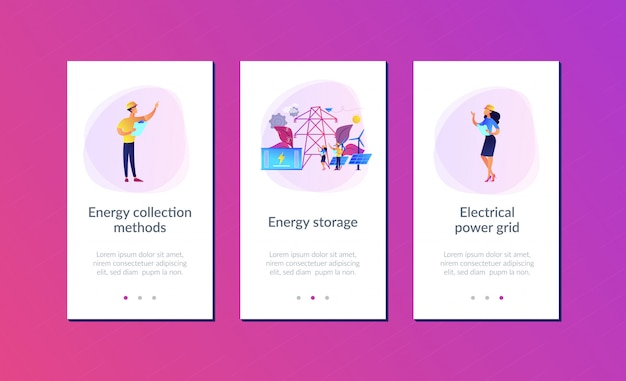 Interfacejabloon voor energieopslag-app. Premium Vector