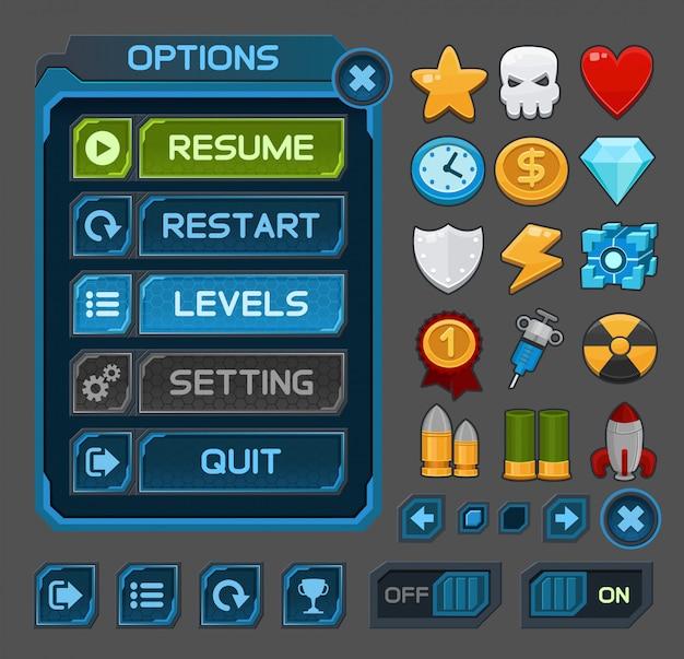 Interfaceknoppen voor ruimtespellen of apps Premium Vector