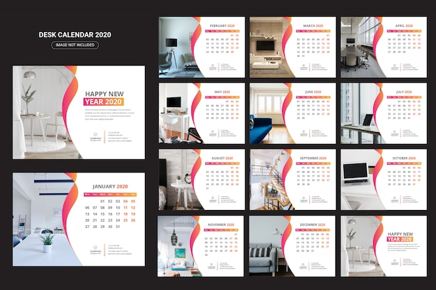 Interieur bureaukalender 2020 Premium Vector