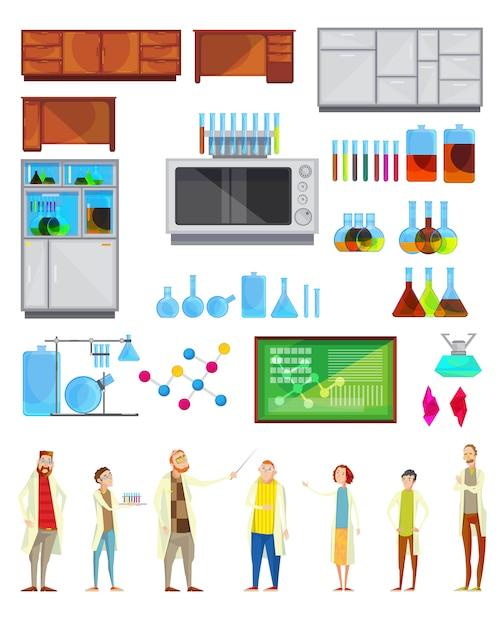 Interieur constructor set van geïsoleerde chemische laboratorium spullen meubeluitrusting en doodle teache Gratis Vector