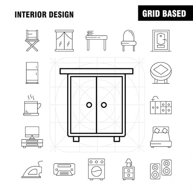 Interieur design lijn icons set Premium Vector