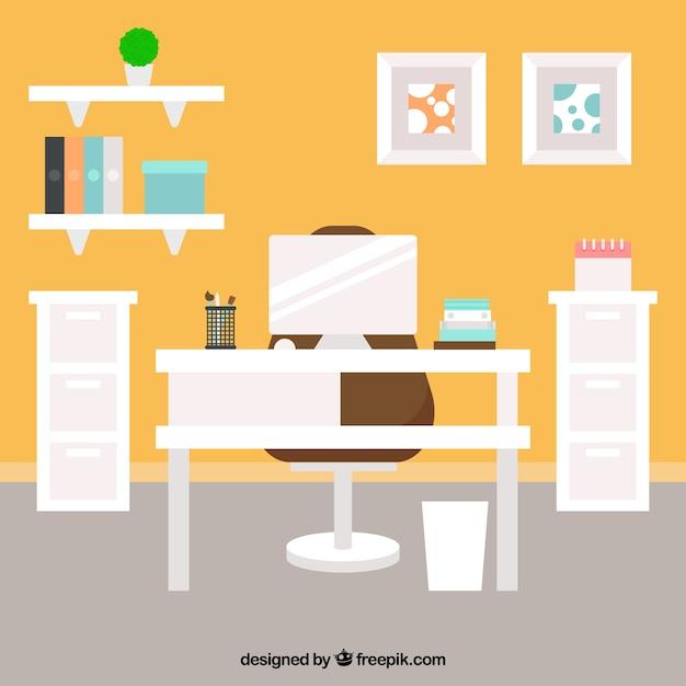 Interieur kantoor in plat design vector gratis download for Kantoor interieur design