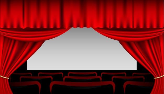 Interieur met rode gordijnen en stoelen | Vector | Premium Download