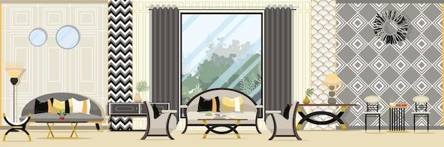 Interieur Moderne klassieke woonkamer met meubilair | Vector ...