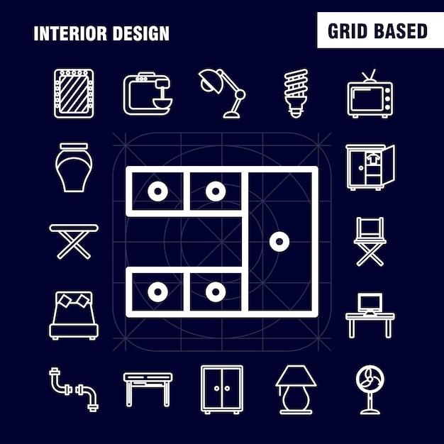 Interieur ontwerp lijn pictogrammen Gratis Vector
