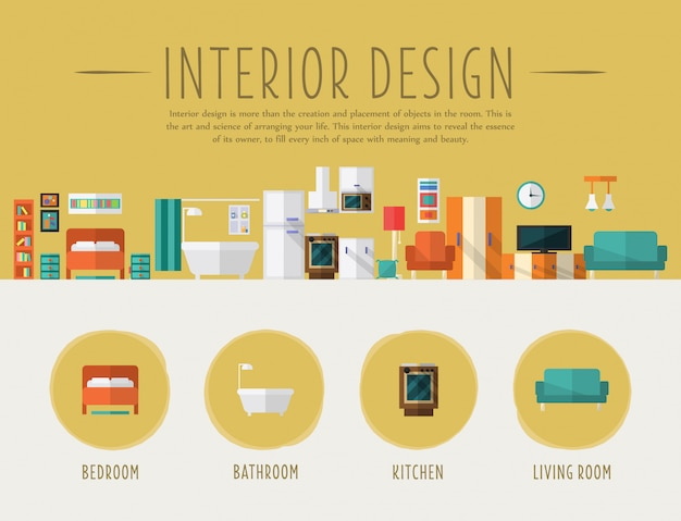 Interieur ontwerp. vlakke afbeelding. Premium Vector