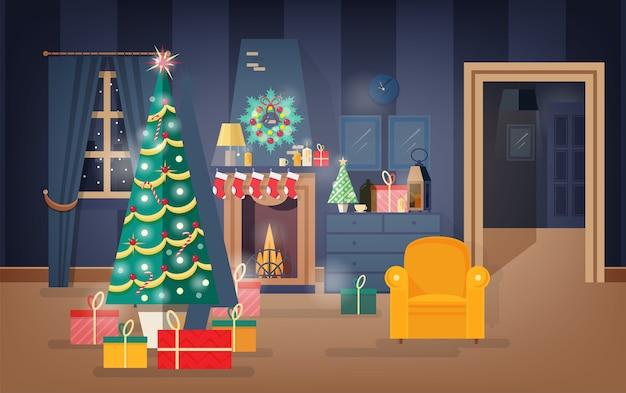 Interieur van comfortabele woonkamer ingericht voor kerstavond met dennenboom, mooie slingers en kransen Premium Vector