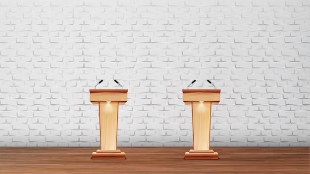 Interieur van conferentieruimte voor debatten Premium Vector