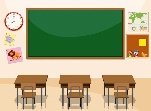 Interieur van een klaslokaal Gratis Vector