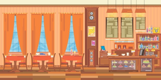 Interieur van een klein familierestaurant. Premium Vector