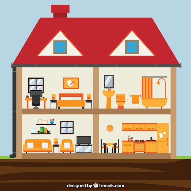 Interieur van huis met kamers in plat ontwerp vector gratis download - Interieur van amerikaans huis ...
