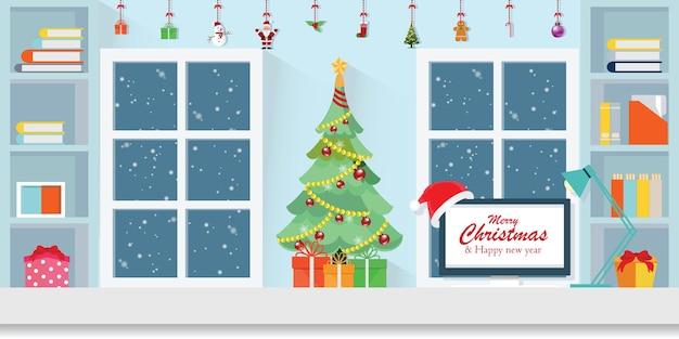 Interieur werkplek op kerstmis. Premium Vector