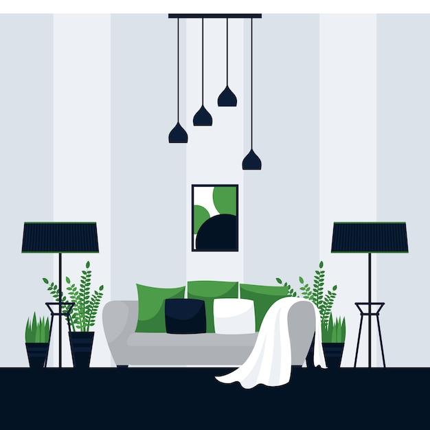 Interieurontwerp van een woonkamer Premium Vector
