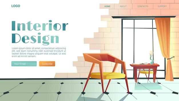 Interieurontwerpbanner met trendy stijl van huis Gratis Vector