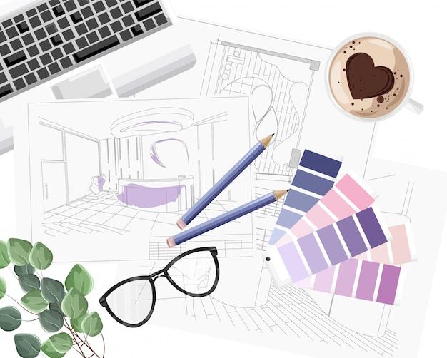 Interieurontwerpbureau met kleurenformulegids, toetsenbord, schets en koffie met hartvorm Premium Vector