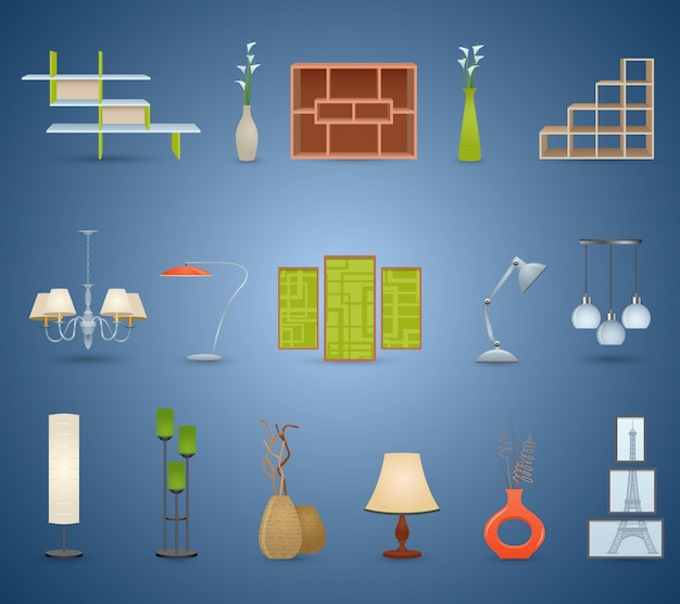 Interior elements set Gratis Vector