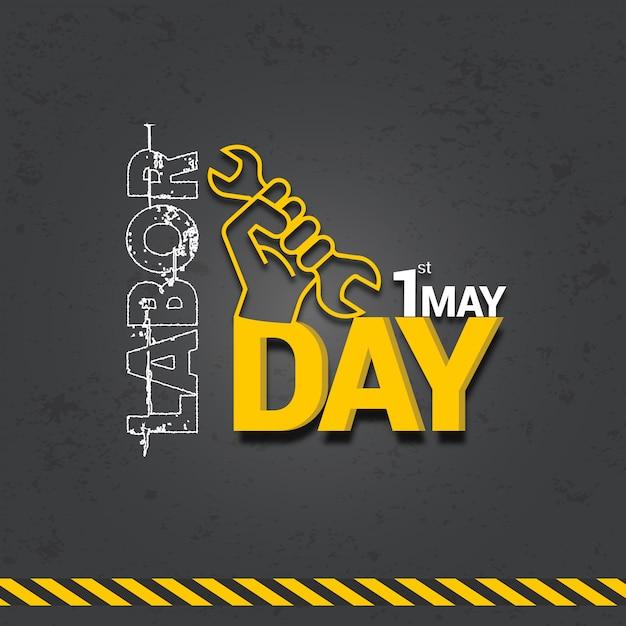 Internationaal de vieringsontwerp van de arbeidsdag met 3d teksten Premium Vector