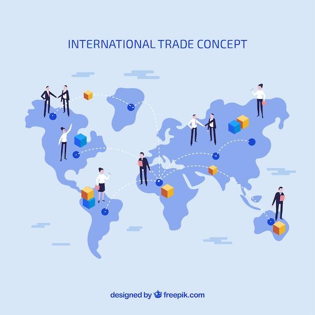 Internationaal handelsconcept met plat ontwerp Gratis Vector
