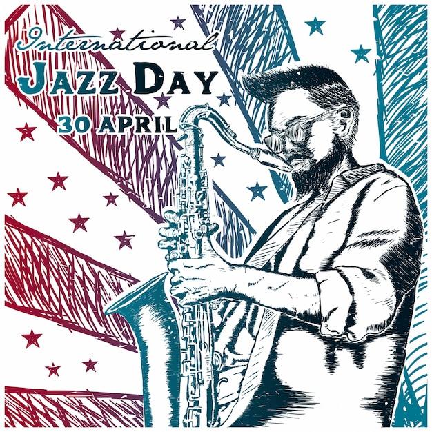 International jazz day hand getrokken Premium Vector