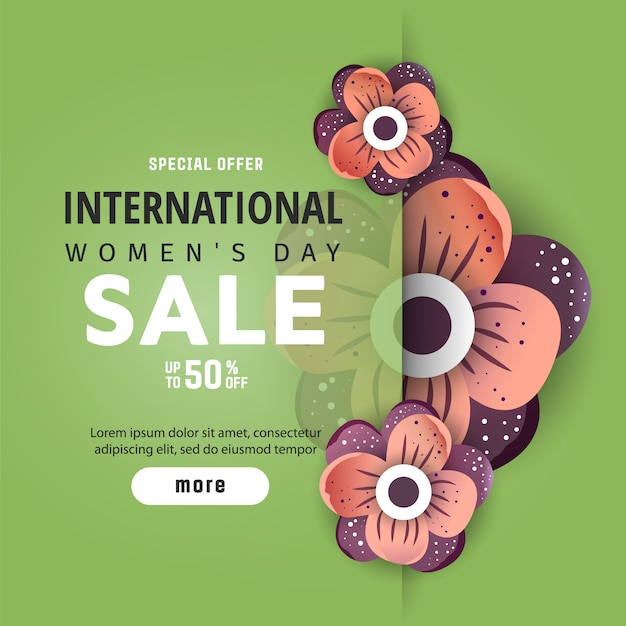 International women's advertising banner Premium Vector