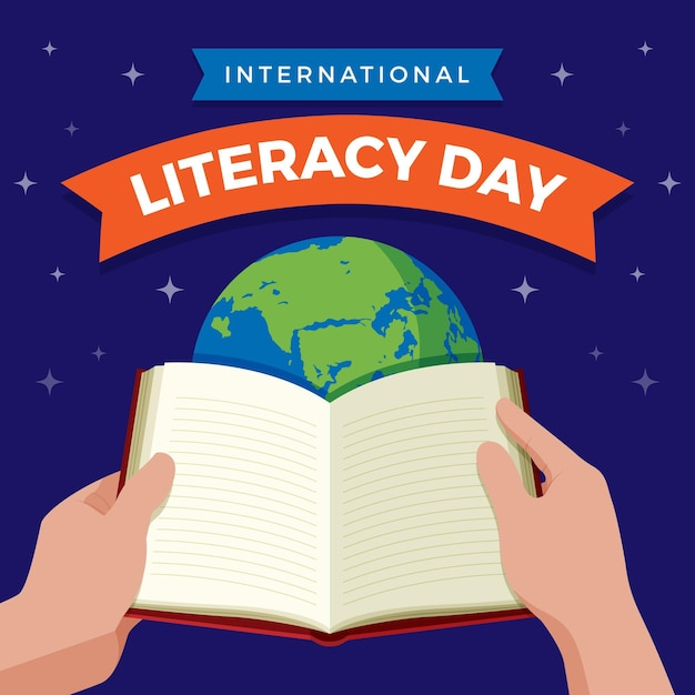 Internationale alfabetiseringsdag met open boek en planeet Gratis Vector