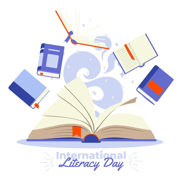 Internationale alfabetiseringsdag met veel boeken Gratis Vector