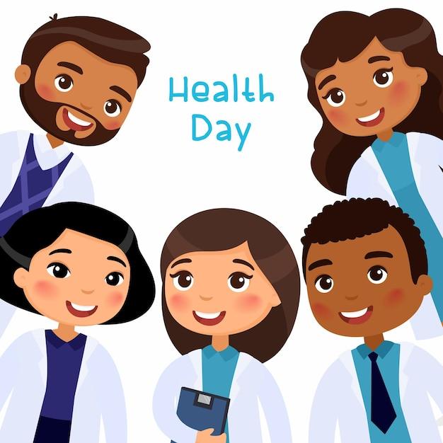 Internationale artsen in medische kleding glimlachen Gratis Vector