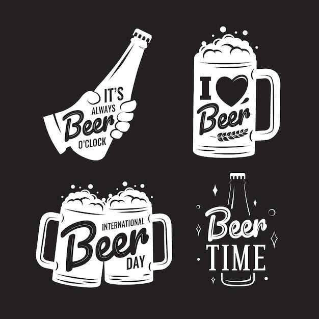 Internationale bierdag badges collectie Gratis Vector