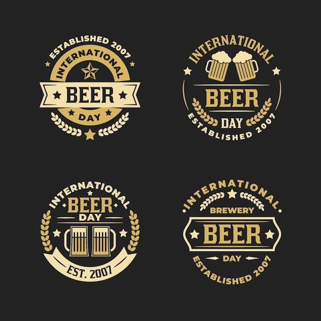 Internationale bierdagetiketten Gratis Vector