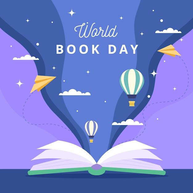 Internationale boekendag hete luchtballons Premium Vector