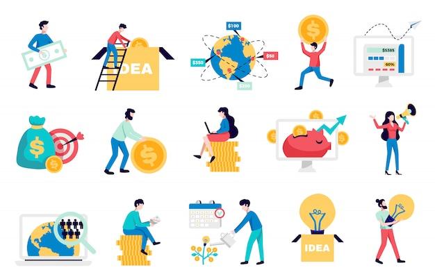 Internationale crowdfunding geld inzamelen internetplatforms voor opstarten van bedrijven non-profit liefdadigheidssymbolen vlakke pictogrammen collectie illustratie Gratis Vector
