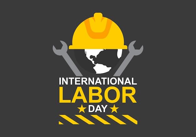 Internationale dag van de arbeid logo vector Premium Vector