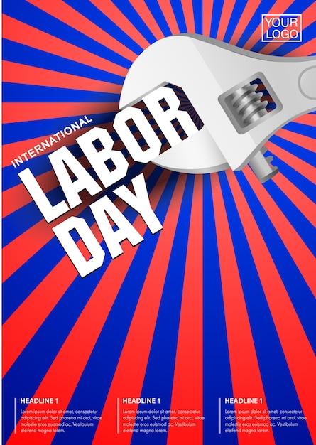 Internationale dag van de arbeid poster sjabloon. Premium Vector