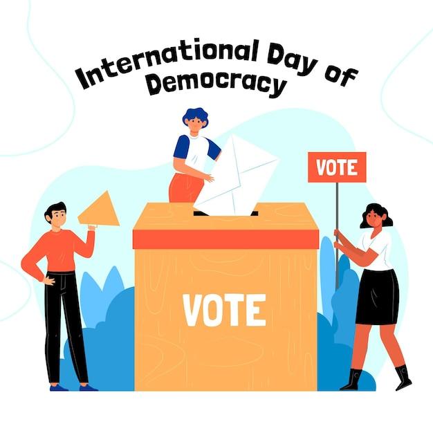 Internationale dag van de democratie achtergrond met mensen stemmen Gratis Vector
