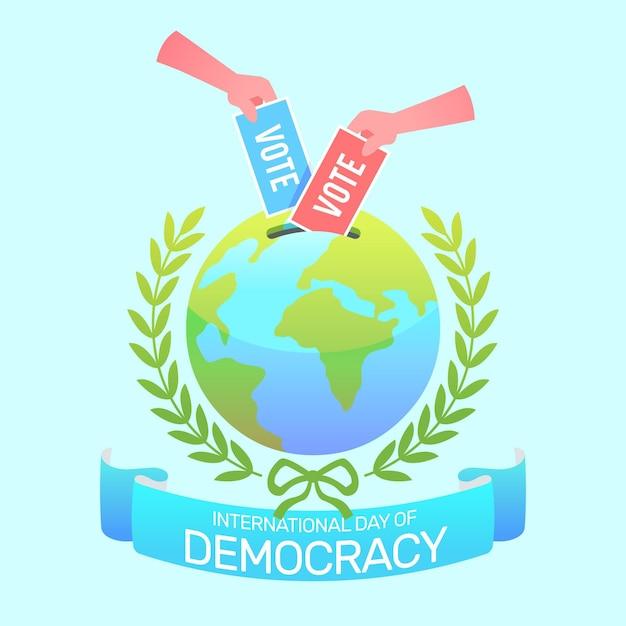 Internationale dag van de democratie achtergrond Gratis Vector