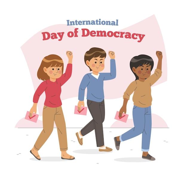 Internationale dag van de democratie met personages Gratis Vector
