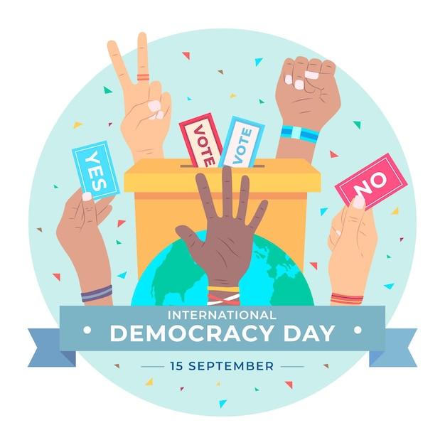 Internationale dag van de democratie met stemmen Gratis Vector