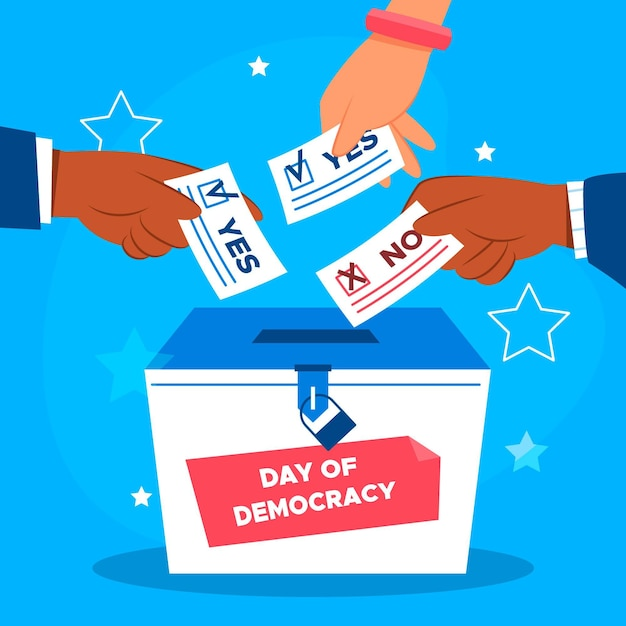 Internationale dag van de democratie met stemmen Gratis Vector