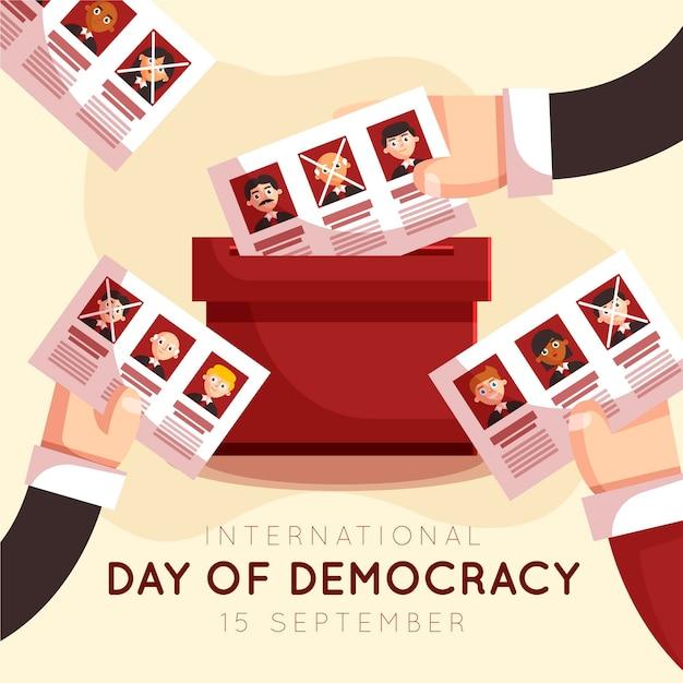 Internationale dag van de democratie stembiljet Gratis Vector