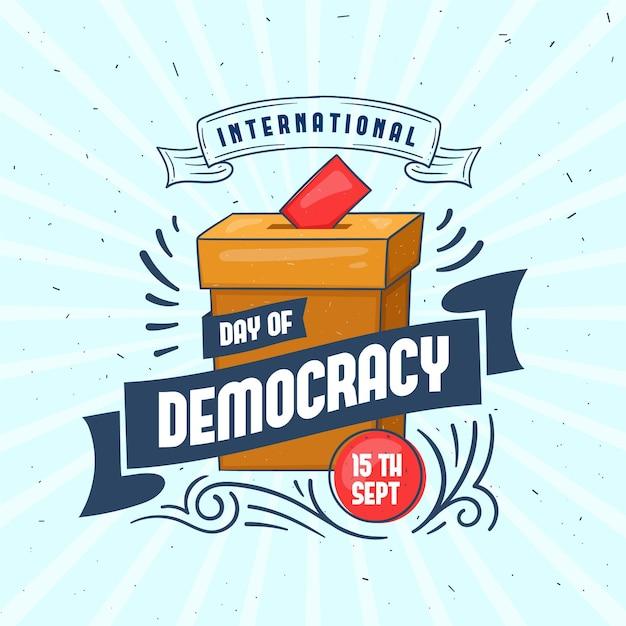 Internationale dag van de democratie stembus en lint Gratis Vector