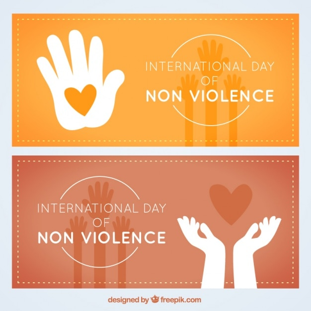 Internationale dag van de geweldloosheid banner pak Gratis Vector