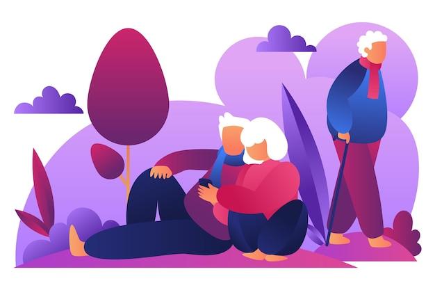 Internationale dag van de oudere personenillustratie Gratis Vector
