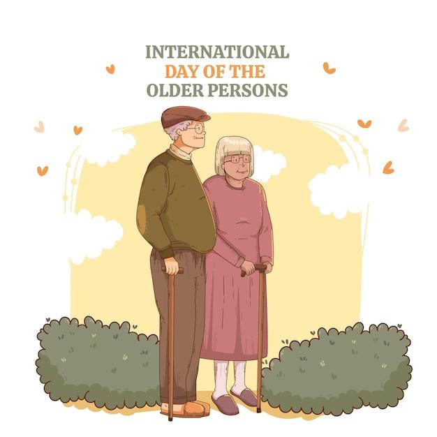 Internationale dag van de oudsten Gratis Vector